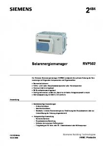 RVP502. Solarenergiemanager. Siemens Building Technologies HVAC Products