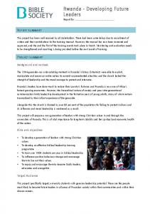 Rwanda - Developing Future Leaders Report for