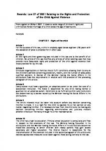 Rwanda: Law 27 of 2001 Relating to the Rights and Protection of the Child Against Violence