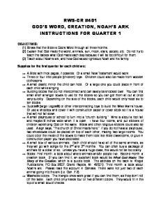 RWS-CR #401 GOD S WORD, CREATION, NOAH S ARK INSTRUCTIONS FOR QUARTER 1