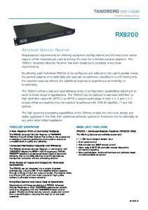 RX8200. Advanced Modular Receiver PRODUCT OVERVIEW BASE UNIT FEATURES