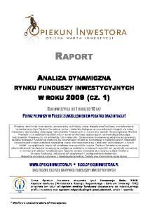 RYNKU FUNDUSZY INWESTYCYJNYCH W ROKU 2009 (CZ