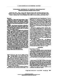 S. AUREUS SURGICAL-SITE AND NOSOCOMIAL INFECTIONS INTRANASAL MUPIROCIN TO PREVENT POSTOPERATIVE STAPHYLOCOCCUS AUREUS INFECTIONS