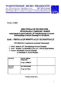 S INSTALACJE WENTYLACJI I KLIMATYZACJI. CPV ( instalowanie wentylacji i klimatyzacji)