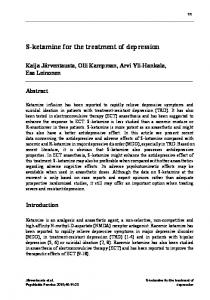 S-ketamine for the treatment of depression