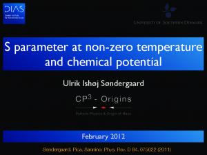 S parameter at non-zero temperature and chemical potential