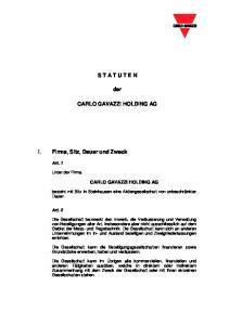 S T A T U T E N. der CARLO GAVAZZI HOLDING AG