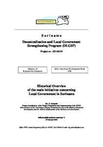 S u r i n a m e Decentralization and Local Government Strengthening Program (DLGSP)