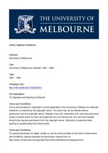 s: University of Melbourne. Title: University of Melbourne Calendar