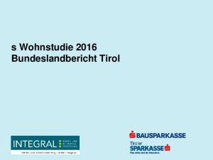 s Wohnstudie 2016 Bundeslandbericht Tirol