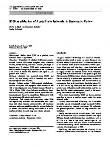 S100 as a Marker of Acute Brain Ischemia: A Systematic Review