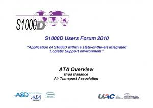 S1000D Users Forum ATA Overview Brad Ballance Air Transport Association