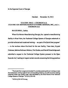 S13A1084. DEAL v. COLEMAN et al. S13A1085. KIA MOTORS MANUFACTURING GEORGIA, INC., et al. v. COLEMAN et al