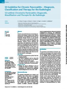 S3 Guideline for Chronic Pancreatitis Diagnosis, Classification and Therapy for the Radiologist