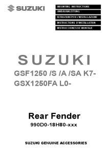 SA K7- GSX1250FA L0- 990D0-18H80-xxx SUZUKI GENUINE ACCESSORIES MOUNTING INSTRUCTIONS ANBAUANLEITUNG