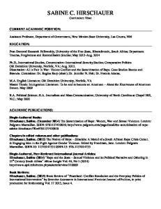 SABINE C. HIRSCHAUER Curriculum Vitae