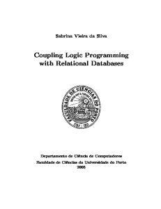 Sabrina Vieira da Silva. Coupling Logic Programming with Relational Databases