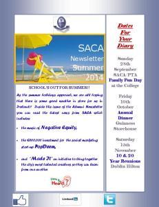 SACA. Newsletter. Summer 2014