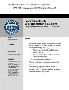 Sacramento County Voter Registration & Elections Language Accessibility Advisory Committee