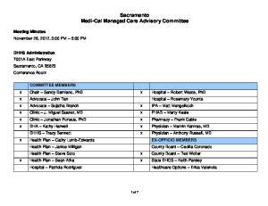 Sacramento Medi-Cal Managed Care Advisory Committee
