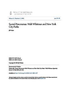Sacred Panoramas: Walt Whitman and New York City Parks