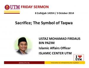 Sacrifice; The Symbol of Taqwa