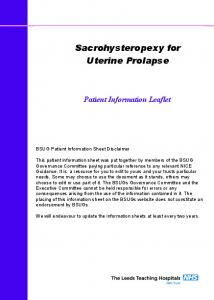 Sacrohysteropexy for Uterine Prolapse
