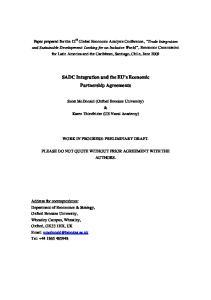 SADC Integration and the EU s Economic Partnership Agreements