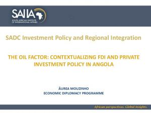 SADC Investment Policy and Regional Integration
