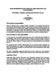 SADC WORKSHOP ON STATISTICAL ORGANISATION AND MANAGEMENT