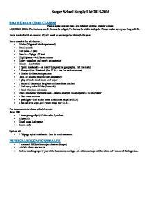 Saeger School Supply List