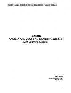 SAEMS NAUSEA AND VOMITING STANDING ORDER TRAINING MODULE. SAEMS NAUSEA AND VOMITING STANDING ORDER Self-Learning Module
