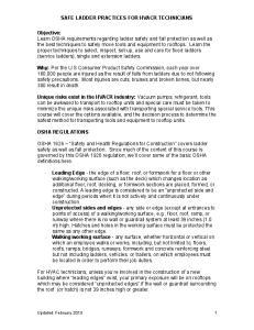 SAFE LADDER PRACTICES FOR HVACR TECHNICIANS
