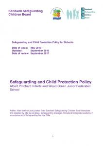 Safeguarding and Child Protection Policy Albert Pritchard Infants and Wood Green Junior Federated School