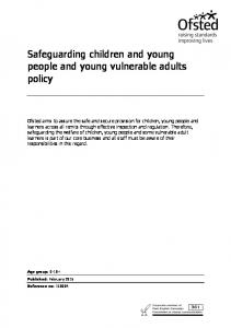 Safeguarding children and young people and young vulnerable adults policy