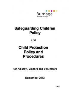 Safeguarding Children. Policy and. Child Protection. Procedures
