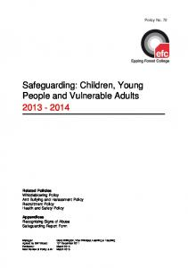 Safeguarding: Children, Young People and Vulnerable Adults