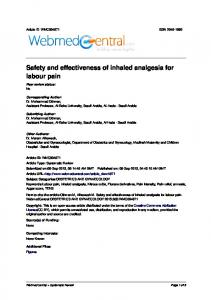 Safety and effectiveness of inhaled analgesia for labour pain