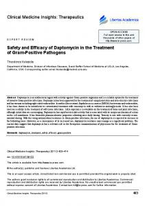 Safety and Efficacy of Daptomycin in the Treatment of Gram-Positive Pathogens
