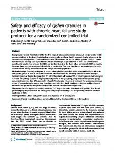Safety and efficacy of Qishen granules in patients with chronic heart failure: study protocol for a randomized controlled trial
