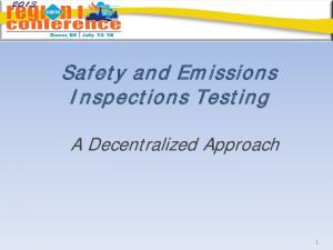 Safety and Emissions Inspections Testing. A Decentralized Approach