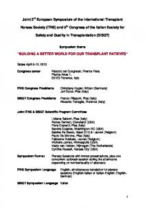 Safety and Quality in Transplantation (SISQT) BUILDING A BETTER WORLD FOR OUR TRANSPLANT PATIENTS