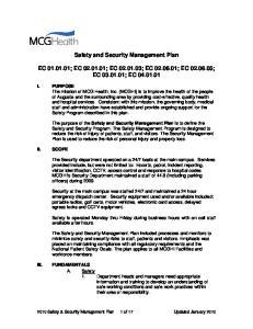 Safety and Security Management Plan EC ; EC ; EC ; EC ; EC ; EC ; EC