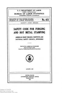 SAFETY CODE FOR FORGING AND HOT METAL STAMPING