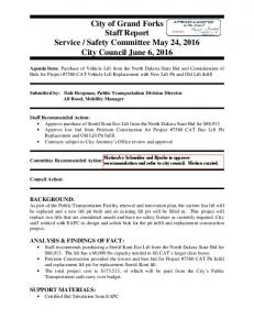 Safety Committee May 24, 2016 City Council June 6, 2016