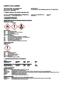 SAFETY DATA SHEET 1. CHEMICAL PRODUCT AND COMPANY IDENTIFICATION 2. HAZARDS IDENTIFICATION ***EMERGENCY OVERVIEW***
