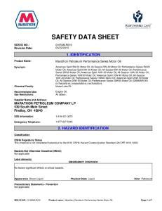 SAFETY DATA SHEET 1. IDENTIFICATION 2. HAZARD IDENTIFICATION