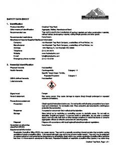 SAFETY DATA SHEET. 1. Identification. 2. Hazard(s) identification