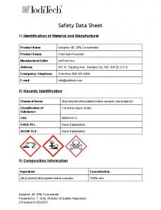 Safety Data Sheet. 1) Identification of Material and Manufacturer. 2) Hazards Identification. 3) Composition Information