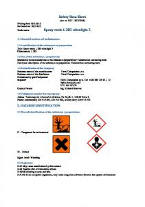 Safety Data Sheet. 1. Identification of substance: 2. HAZARDS IDENTIFICATION